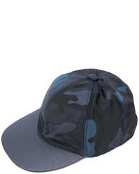 dunkelblaue Camouflage Leder Baseballkappe von Valentino Garavani