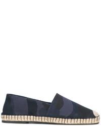 dunkelblaue Camouflage Leder Espadrilles von Valentino Garavani