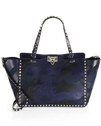 dunkelblaue Camouflage Shopper Tasche aus Leder