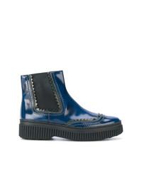 dunkelblaue Chelsea-Stiefel aus Leder von Tod's