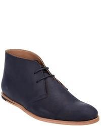 dunkelblaue Chukka-Stiefel aus Leder