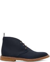 dunkelblaue Chukka-Stiefel aus Segeltuch