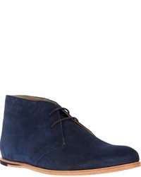 dunkelblaue Chukka-Stiefel aus Wildleder