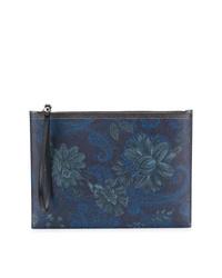 dunkelblaue Clutch Handtasche mit Paisley-Muster von Etro