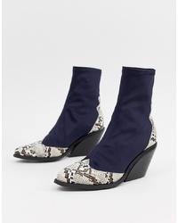 dunkelblaue Cowboystiefel aus Leder von ASOS DESIGN