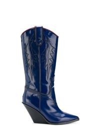 dunkelblaue Cowboystiefel aus Leder von Diesel