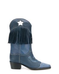 dunkelblaue Cowboystiefel aus Leder von Ganni