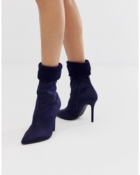 dunkelblaue elastische Stiefeletten von Missguided