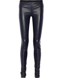 dunkelblaue enge Hose aus Leder von Helmut Lang