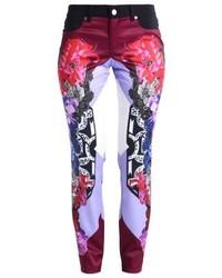 dunkelblaue enge Hose mit Blumenmuster von Versace