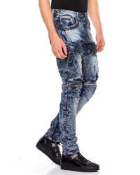 dunkelblaue enge Jeans mit Acid-Waschung von Cipo & Baxx