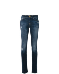 dunkelblaue enge Jeans mit Destroyed-Effekten von 7 For All Mankind