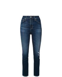 dunkelblaue enge Jeans mit Destroyed-Effekten von AG Jeans