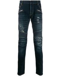 dunkelblaue enge Jeans mit Destroyed-Effekten von Balmain