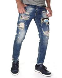 dunkelblaue enge Jeans mit Destroyed-Effekten von Bright Jeans