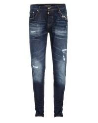 dunkelblaue enge Jeans mit Destroyed-Effekten von Cipo & Baxx