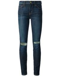 dunkelblaue enge Jeans mit Destroyed-Effekten von Current/Elliott