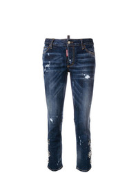 dunkelblaue enge Jeans mit Destroyed-Effekten von Dsquared2