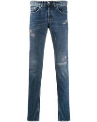 dunkelblaue enge Jeans mit Destroyed-Effekten von Eleventy