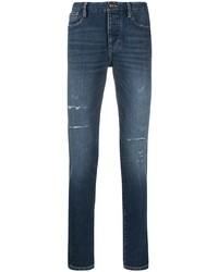 dunkelblaue enge Jeans mit Destroyed-Effekten von Emporio Armani
