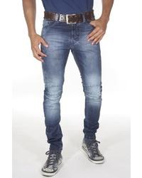 dunkelblaue enge Jeans mit Destroyed-Effekten von EX-PENT