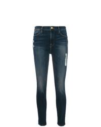 dunkelblaue enge Jeans mit Destroyed-Effekten von Frame Denim