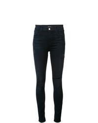 dunkelblaue enge Jeans mit Destroyed-Effekten von J Brand