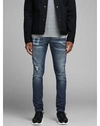 dunkelblaue enge Jeans mit Destroyed-Effekten von Jack & Jones