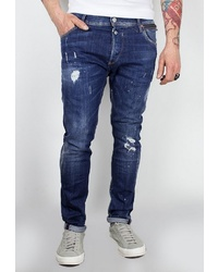 dunkelblaue enge Jeans mit Destroyed-Effekten von Le Temps des Cerises