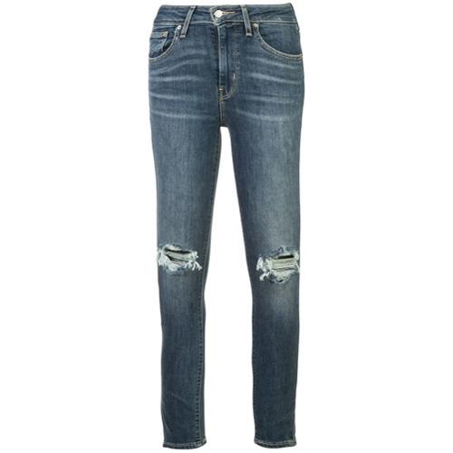 dunkelblaue enge Jeans mit Destroyed-Effekten von Levi's