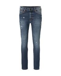 dunkelblaue enge Jeans mit Destroyed-Effekten von Marc O'Polo Denim