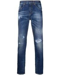 dunkelblaue enge Jeans mit Destroyed-Effekten von Neil Barrett