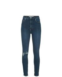 dunkelblaue enge Jeans mit Destroyed-Effekten von Nobody Denim