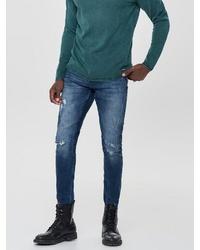 dunkelblaue enge Jeans mit Destroyed-Effekten von ONLY & SONS