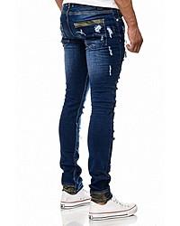 dunkelblaue enge Jeans mit Destroyed-Effekten von RUSTY NEAL