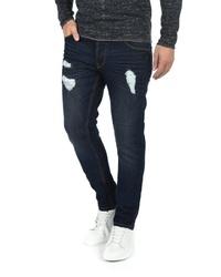 dunkelblaue enge Jeans mit Destroyed-Effekten von Solid