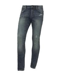 dunkelblaue enge Jeans mit Destroyed-Effekten von Tom Tailor Denim