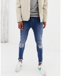 dunkelblaue enge Jeans mit Destroyed-Effekten von Voi Jeans