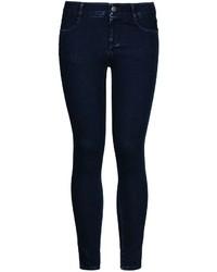 dunkelblaue enge Jeans