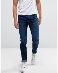 Dunkelblaue Enge Jeans von Selected