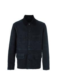 dunkelblaue Feldjacke aus Leder von Desa 1972