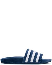 dunkelblaue flache Sandalen aus Leder von adidas