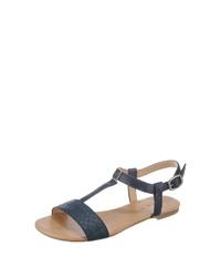 dunkelblaue flache Sandalen aus Leder von Esprit