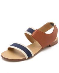 dunkelblaue flache Sandalen aus Leder von Splendid