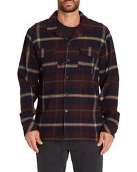 dunkelblaue Flanell Shirtjacke mit Schottenmuster