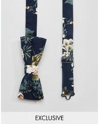 dunkelblaue Fliege mit Blumenmuster von Reclaimed Vintage