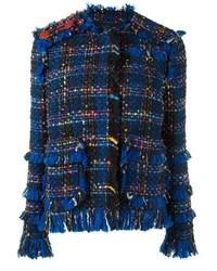 Dunkelblaue Fransen Tweed Jacke von MSGM