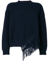 dunkelblaue Wollbluse mit Fransen von Stella McCartney