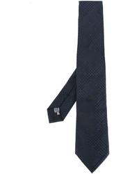 dunkelblaue geflochtene Seidekrawatte von Armani Collezioni