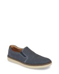 dunkelblaue geflochtene Slip-On Sneakers aus Leder